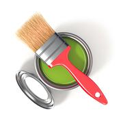 Metal tin can with green paint and paintbrush. Top view. 3D Stock Illustration