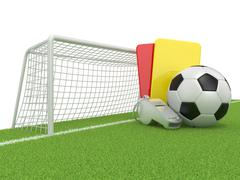Football concept. Penalty (red and yellow) card, metal whistle and soccer (fo Piirros