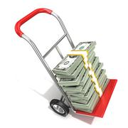Hand truck with stacks of hundreds dollars isolated on white background. 3D Stock Illustration