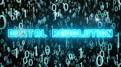 Bluish Digital Revolution concept with digital code Stock Footage