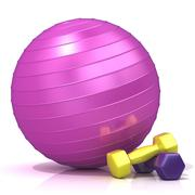 Violet fitness ball and weights Stock Illustration