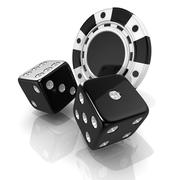 Black gambling chips and dices. 3D Stock Illustration