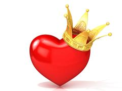 Red heart with golden crown. 3D Stock Illustration