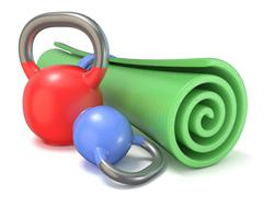 Green fitness mat and kettle bells weights. 3D Stock Illustration
