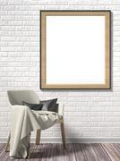 Blank picture frame with white armchair. Mock up poster. 3D Stock Illustration