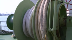 Mooring rope of a cargo ship. Stock Footage