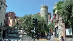 GENOVA - April 28th,2016 - Medieval towers of Porta Soprana  Stock Footage
