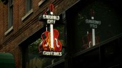 Emerald City Guitars, Neon Sign Stock Footage