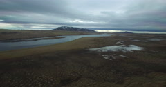Aerial flyover of an Icelandic River Stock Footage