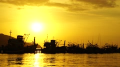 Fishing port at sunset Stock Footage