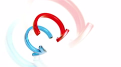 Rotate bend glass arrows 3d animation Stock Footage