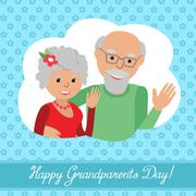 Vector illustration. Happy grandparents day. Couple in cloud Stock Illustration