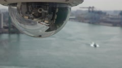 Dome camera (video surveillance) located in a port. 4K Stock Footage