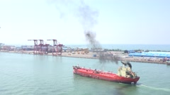A oil tanker ship designed for the bulk transport of oil. Port of Kaohsiung 4K Stock Footage