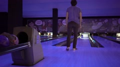 Man Throws Bowling Ball Stock Footage
