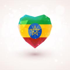 Flag of Ethiopia in shape diamond glass heart. Triangulation style Stock Illustration