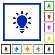Lighting bulb framed flat icons Stock Illustration
