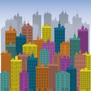 City design. Urban illustration. Buildings concept Stock Illustration