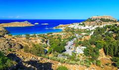 Lindos city on the Greek Island of Rhodes. view from above Stock Photos