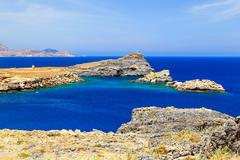 Bay among rocks and mountains, Greece Lindos Rhodes Stock Photos