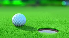 Close up view of a golf ball near the hole. 3D Rendering Stock Illustration