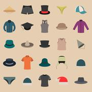 A set of clothes and hats, vector illustration. Stock Illustration