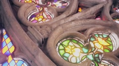 Stained glass on cathedral Stock Footage
