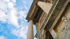 Classical Temple and Fast Clouds Stock Footage