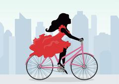 Woman rides a Bicycle on the background of the city Stock Illustration