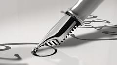 Close up view of a fountain pen writing. 3D Rendering Stock Illustration