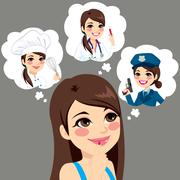 Girl Career Choice Stock Illustration
