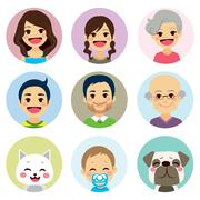Extended Family Avatar Stock Illustration