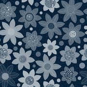 Vector Jeans background with flowers. Denim seamless pattern. Blue jeans fabric Stock Illustration