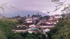 Panoramic View of colonial town in Colombia Stock Footage