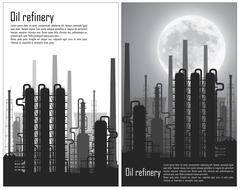 Set of Oil and gas refinery flyers Stock Illustration