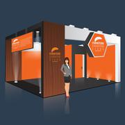 Creative exhibition stand design. Booth template. Corporate identity vector Piirros