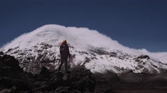 Woman in expedition on the andean mountains Stock Footage