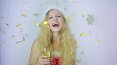 Smiling beautiful woman girl in Santa hat gives you a glass with champagne Stock Footage