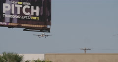 LAX Plane Land w:Bird Stock Footage