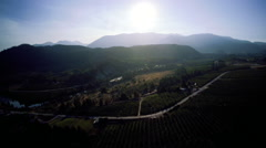 Country Aerial: High View Over Late Summer Valley with Fire Haze Stock Footage