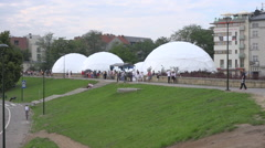WYD Krakow 2016 - Big white domes at the edge of Vistula river - zoom in Stock Footage