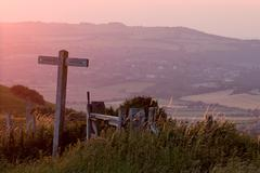 Sunset view from South Downs Way in Sussex Stock Photos