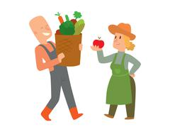 Garden harvest people vector character Stock Illustration
