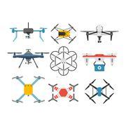 Drone quadcopter vector set Stock Illustration