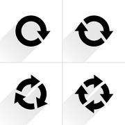 Black arrow loop, refresh, reload, rotation icon - stock illustration