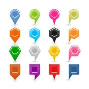 Colorful map pin sign location icon with shadow Stock Illustration