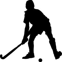 Silhouette of boy hockey player hitting ball Stock Illustration