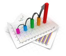 Business chart and documents Stock Illustration
