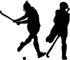 Silhouette of girl ladies hockey players hitting and blocking ball Stock Illustration