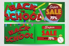 Set of two back to school banners with super sale sign up to 75%. Stock Illustration
